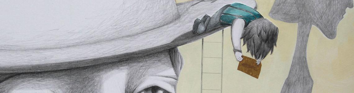 """Alejandra Zúñiga y """"Rom y la ballena de los sueños"""": """"Abordé el trabajo de una manera nueva, dejando que la composición surgiera en respuesta al collage, prestando atención a cómo actuaba éste con la línea de dibujo"""""""